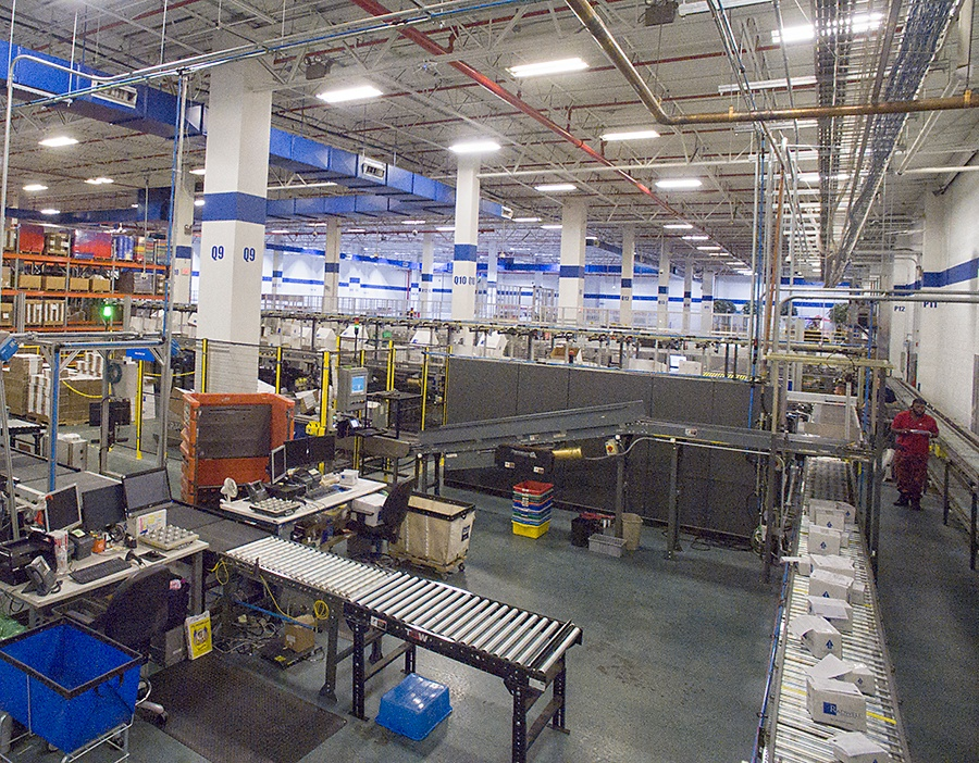 Aerial view of shipping conveyors