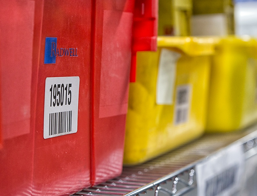 Barcoded Inventory Bins at Radwell International