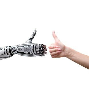 Radwell International Robot and Human Thumbs Up