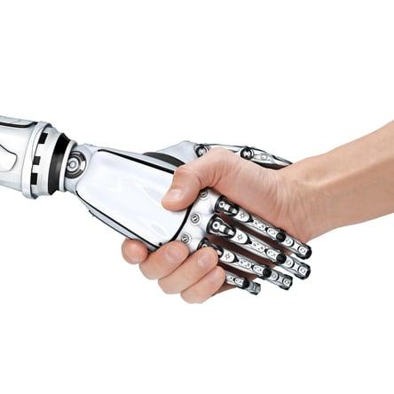 Radwell International Robot and Man Shaking Hands