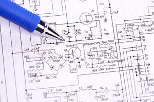 Schematic with Blue Pen Overhead view