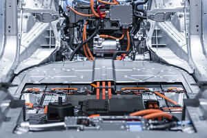 Inside an electric car being manufactured