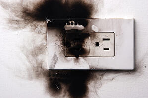 burned outlet from fire