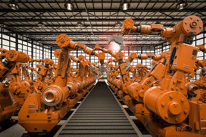 row of robots on a conveyor