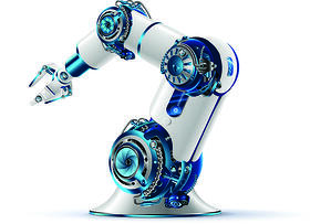 Industrial Robot on White Background